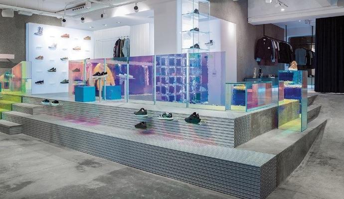 A sneaker store with a futuristic aluminium look