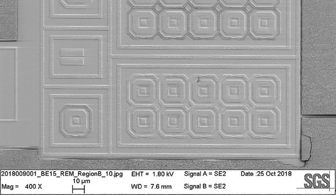 Identifying ESD damage using an electron microscope