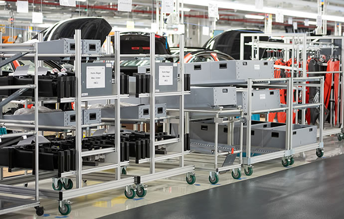 Automated guided vehicle systems in use at Audi